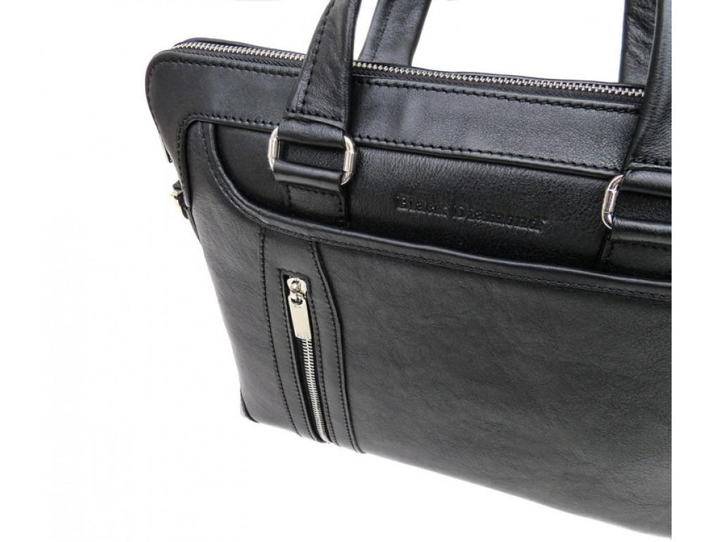 Мужская кожаная сумка под macbook Black Diamond BD37A чёрная - Фото № 7
