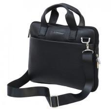 Мужская кожаная сумка под macbook Black Diamond BD27AF чёрная