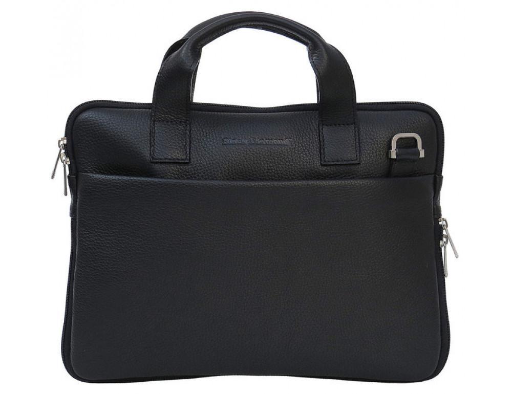 Мужская кожаная сумка под macbook Black Diamond BD27AF чёрная - Фото № 2
