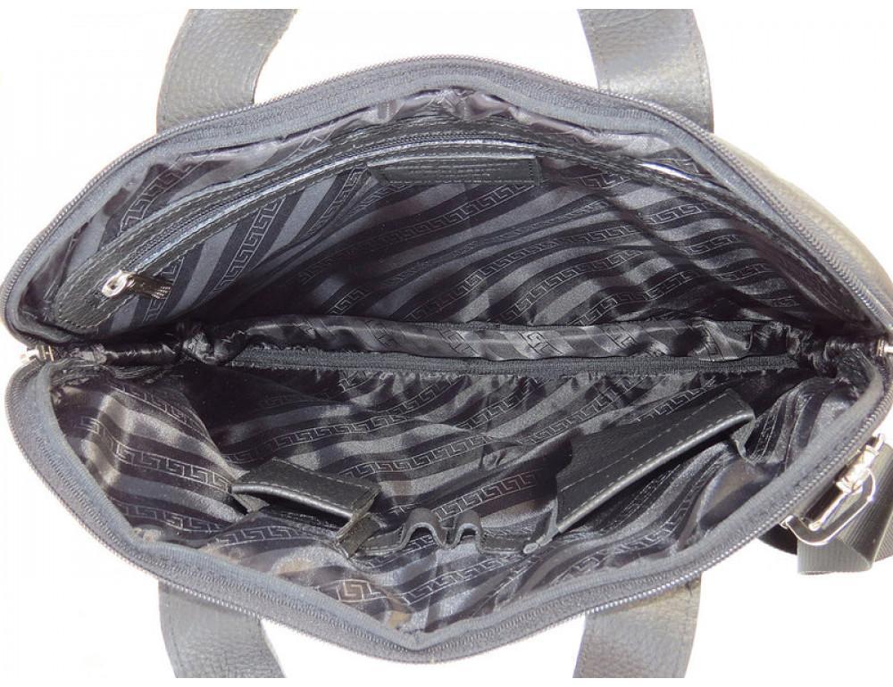 Мужская кожаная сумка под macbook Black Diamond BD27AF чёрная - Фото № 9