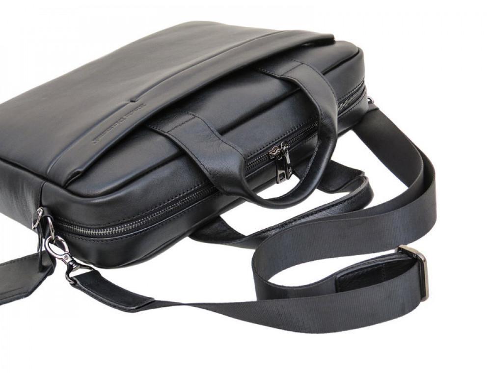 Чоловіча шкіряна сумка Black Diamond BD25-2A чорна - Фотографія № 7