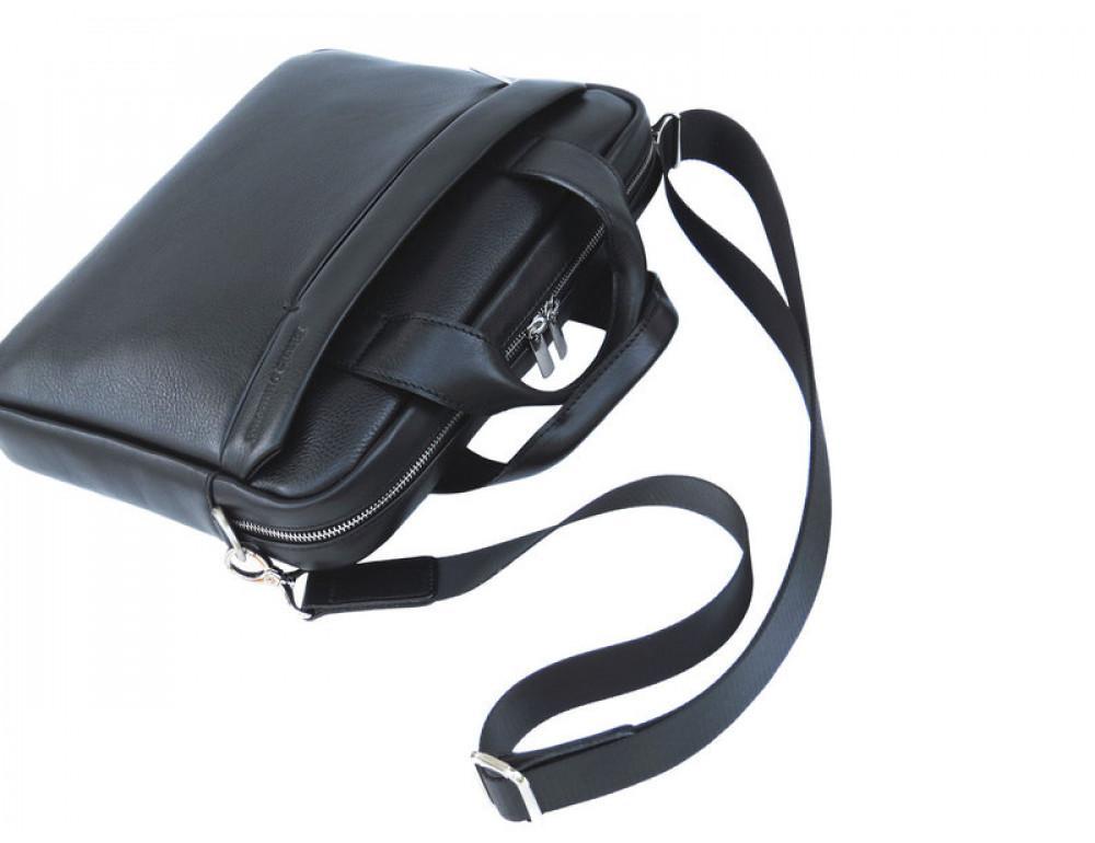 Мужская кожаная сумка Black Diamond BD25A чёрная - Фото № 7