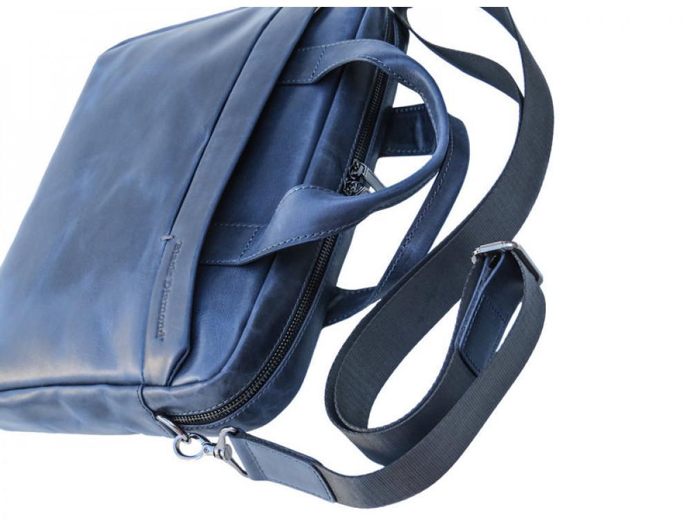 Мужская кожаная сумка Black Diamond BD25D-2 синяя - Фото № 6
