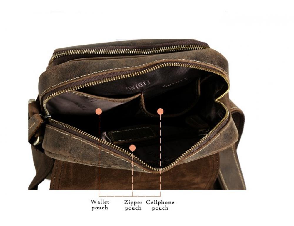 Мужской кожаный мессенджер TIDING BAG T1172 - Фото № 5