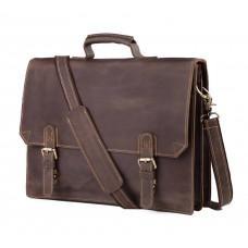 Мужской кожаный винтажный портфель TIDING BAG GA2095R коричневый