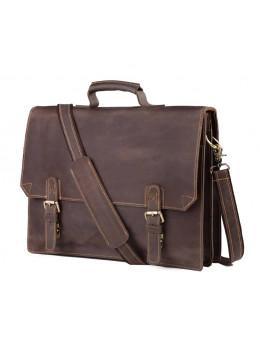 Чоловічий шкіряний вінтажний портфель TIDING BAG GA2095R коричневий