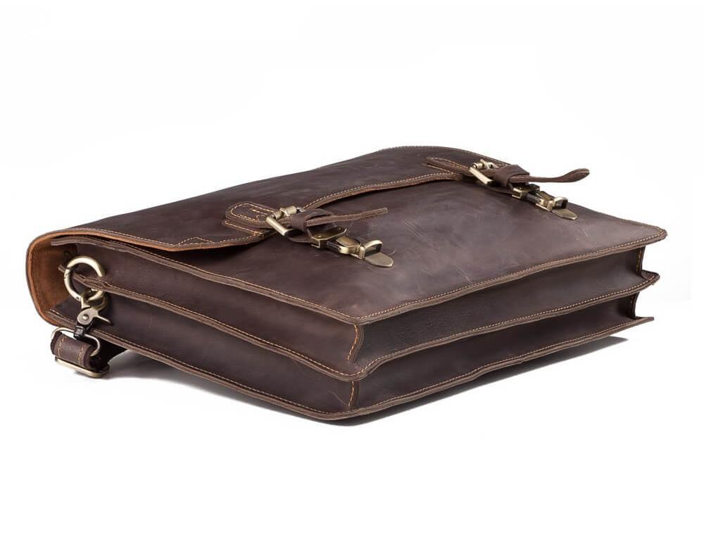 Мужской кожаный винтажный портфель TIDING BAG GA2095R коричневый - Фото № 4