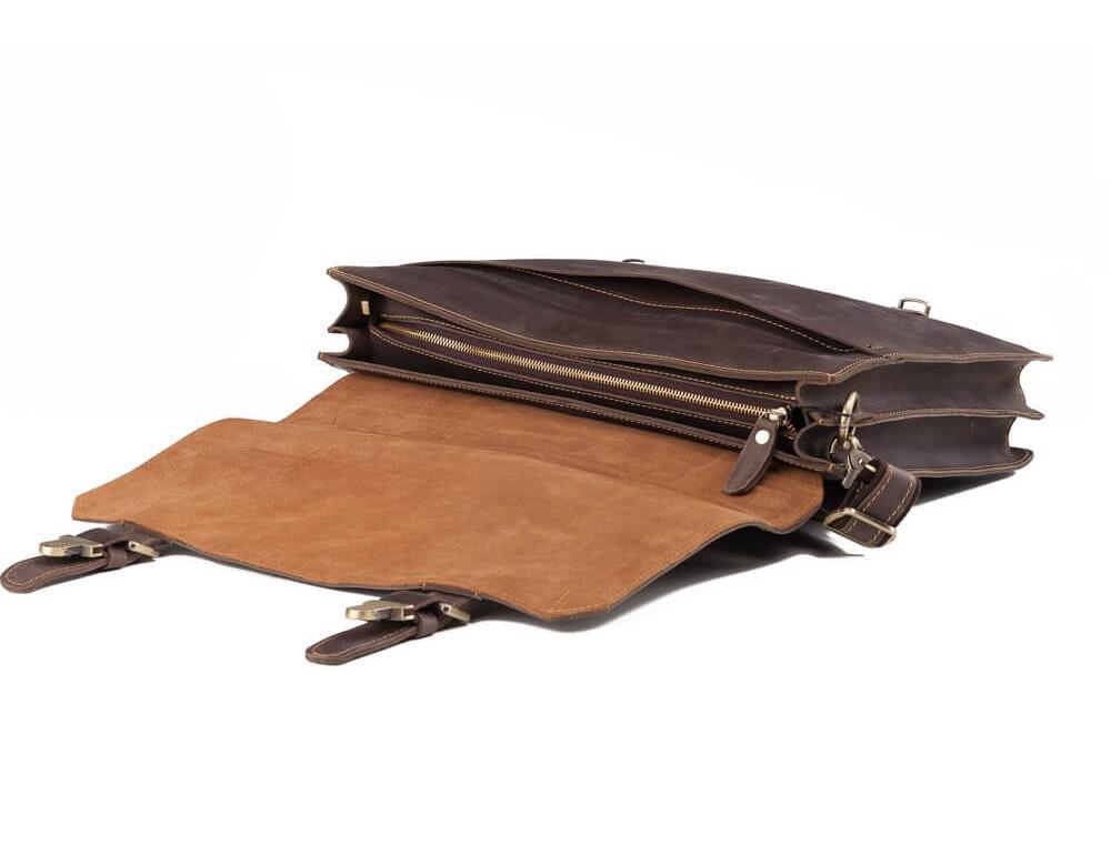 Мужской кожаный винтажный портфель TIDING BAG GA2095R коричневый - Фото № 5