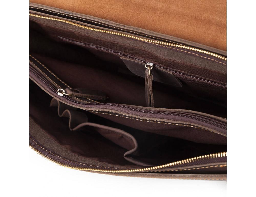 Мужской кожаный винтажный портфель TIDING BAG GA2095R коричневый - Фото № 6