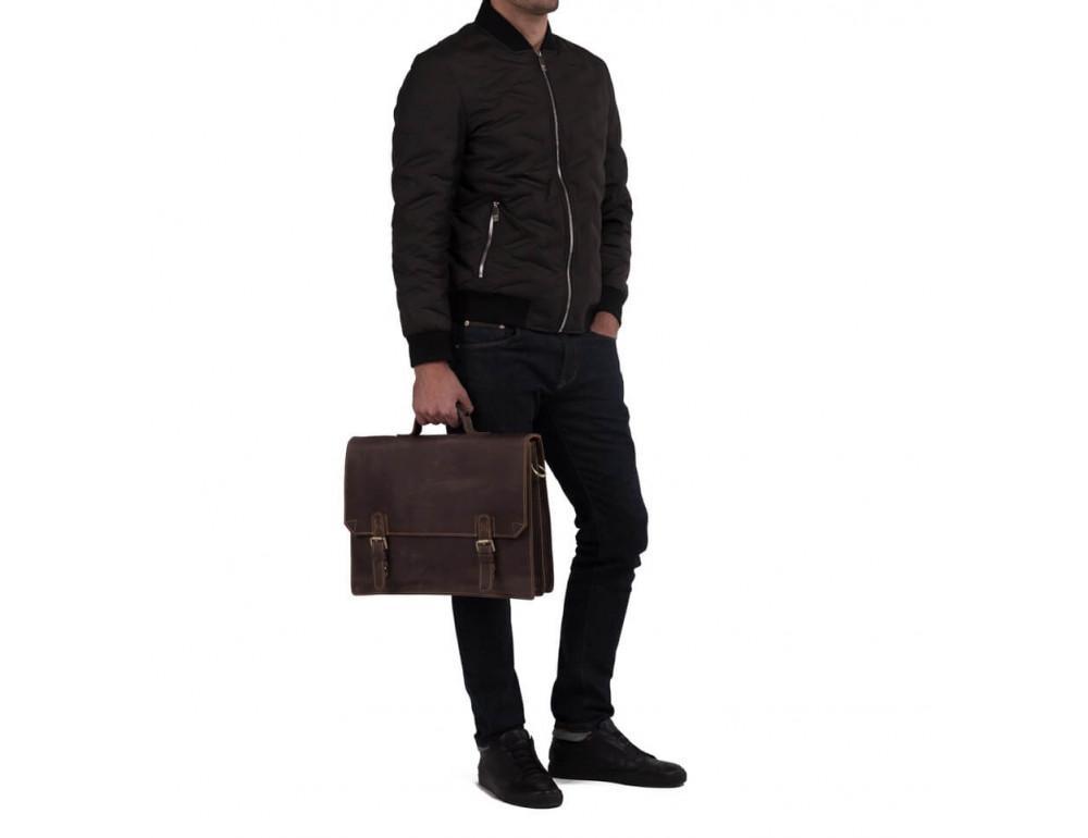 Мужской кожаный винтажный портфель TIDING BAG GA2095R коричневый - Фото № 2
