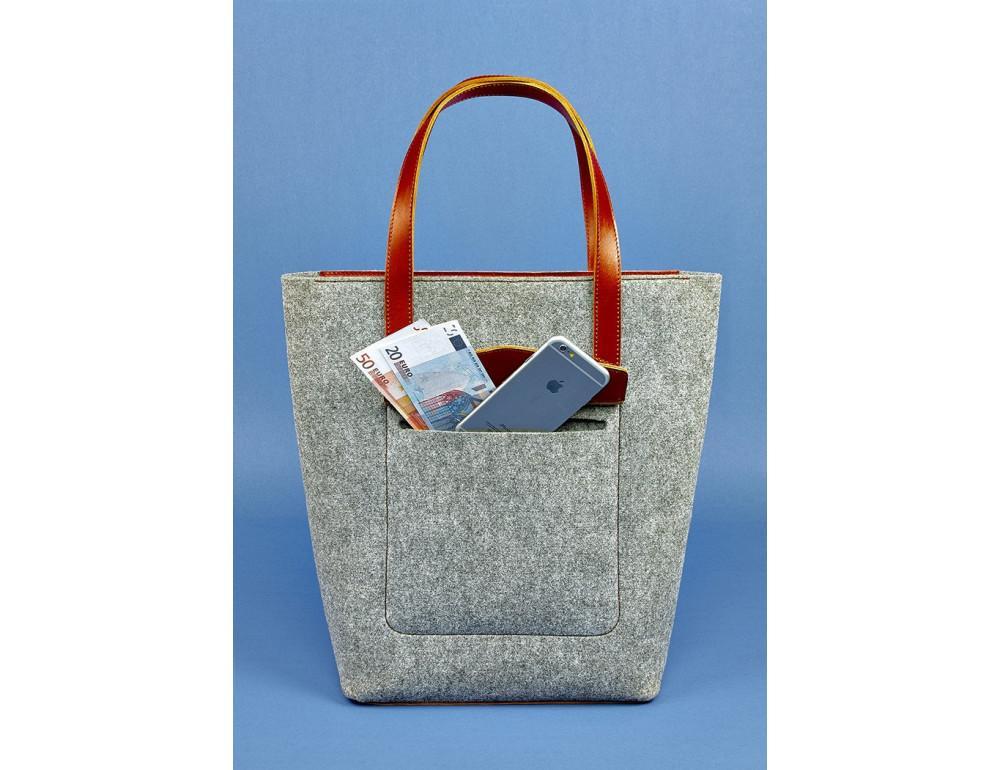 Женская фетровая сумка ШОППЕР Blanknote BN-BAG-17-felt-k - Фото № 2