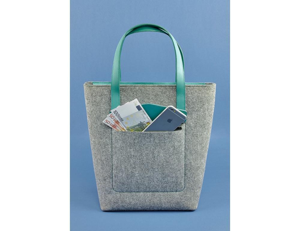 Женская фетровая сумка ШОППЕР Blanknote BN-BAG-17-felt-tiffany - Фото № 2