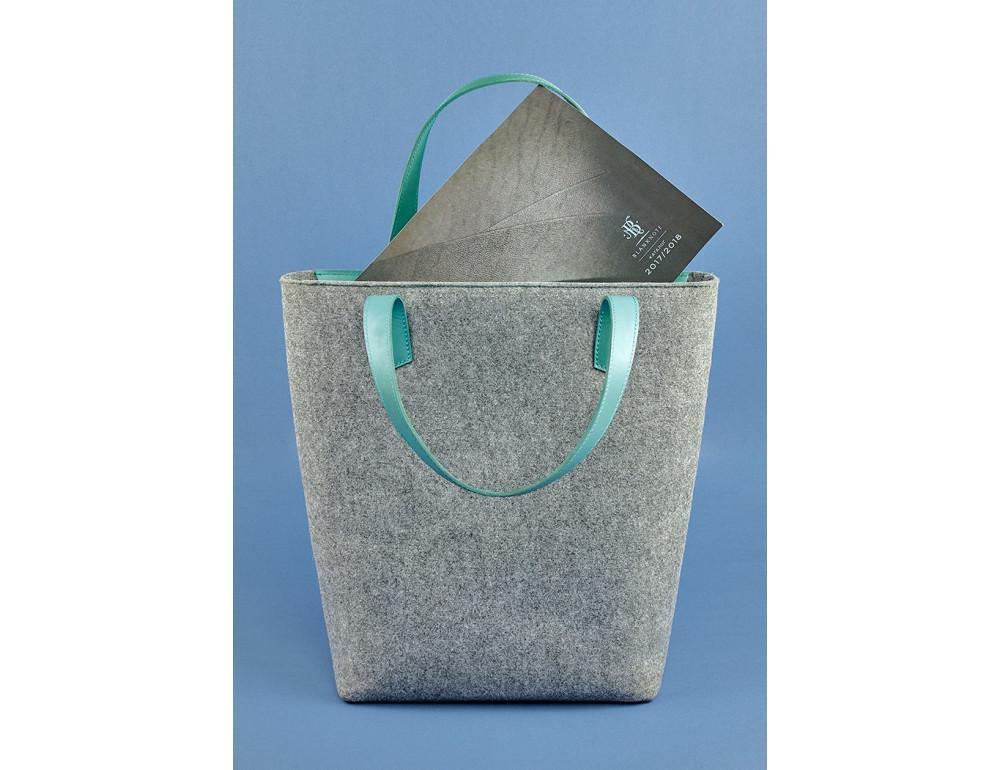 Женская фетровая сумка ШОППЕР Blanknote BN-BAG-17-felt-tiffany - Фото № 4