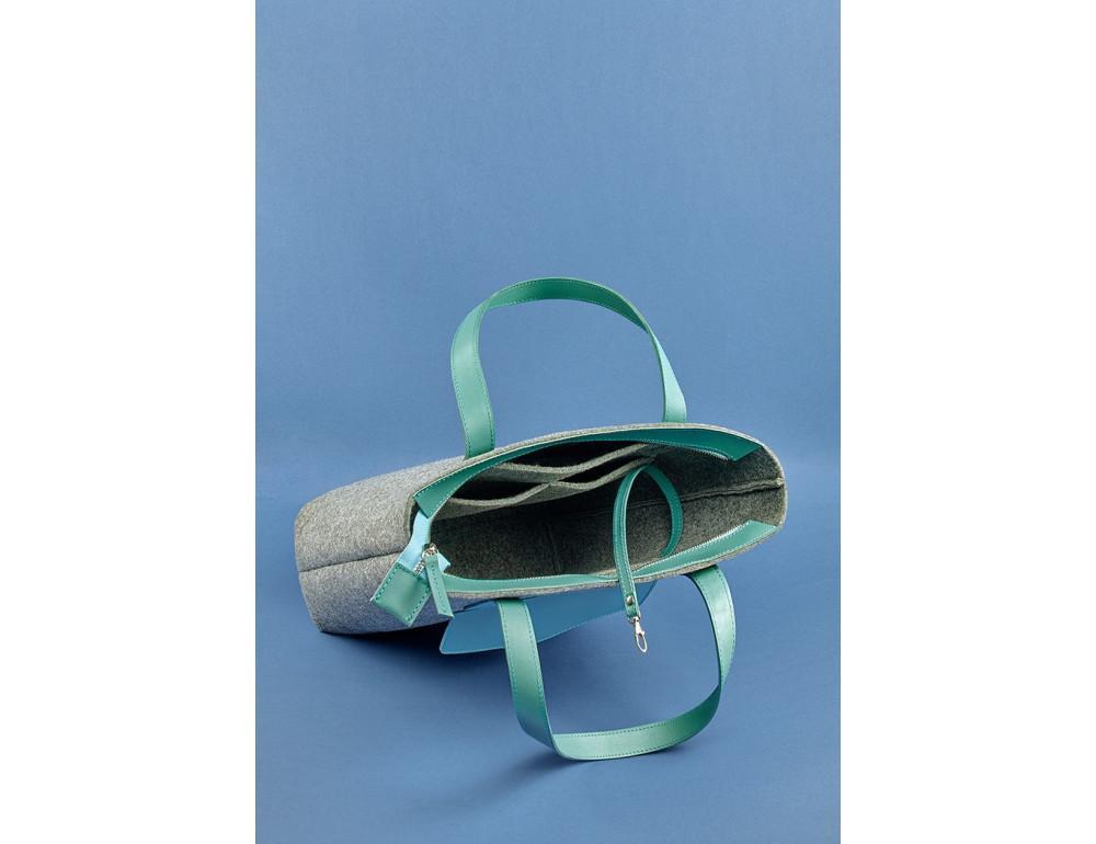 Женская фетровая сумка ШОППЕР Blanknote BN-BAG-17-felt-tiffany - Фото № 6