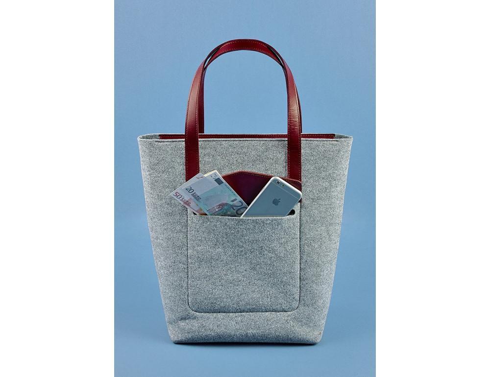 Женская фетровая сумка ШОППЕР Blanknote BN-BAG-17-felt-vin - Фото № 2