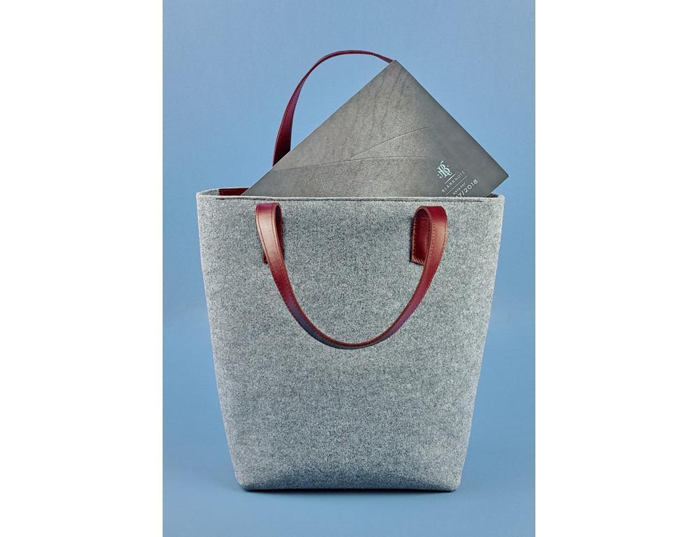 Женская фетровая сумка ШОППЕР Blanknote BN-BAG-17-felt-vin - Фото № 4