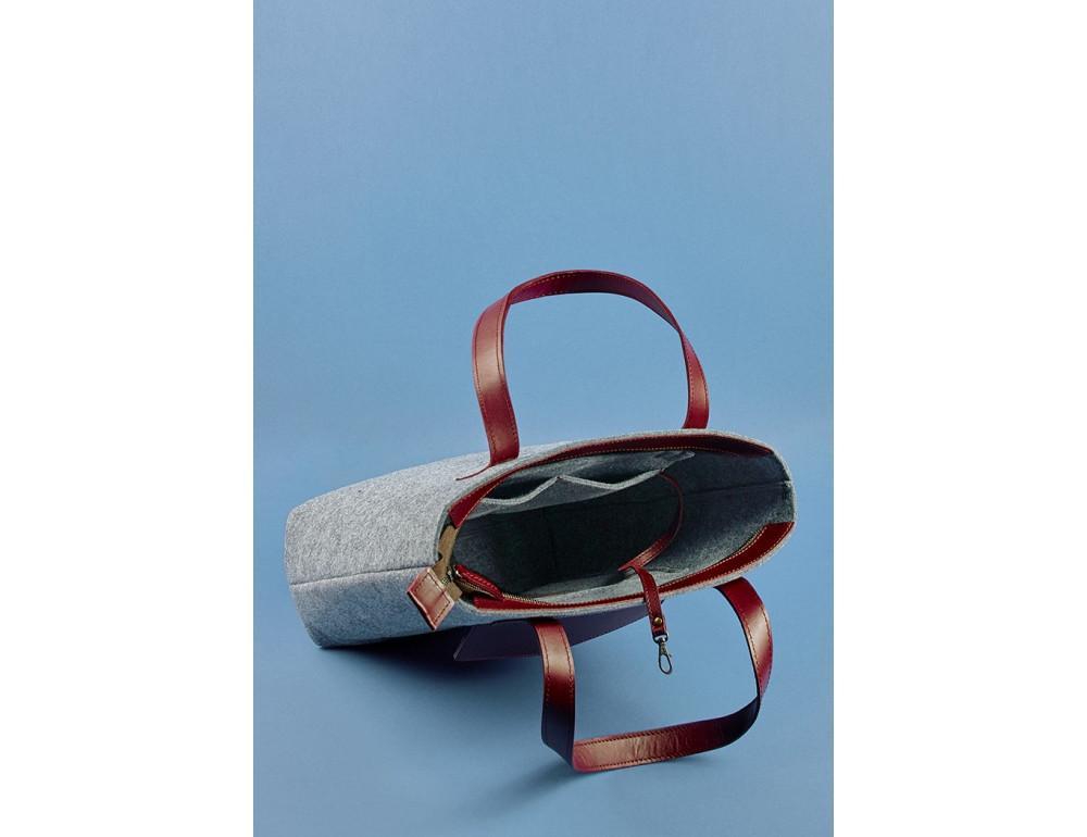 Женская фетровая сумка ШОППЕР Blanknote BN-BAG-17-felt-vin - Фото № 6