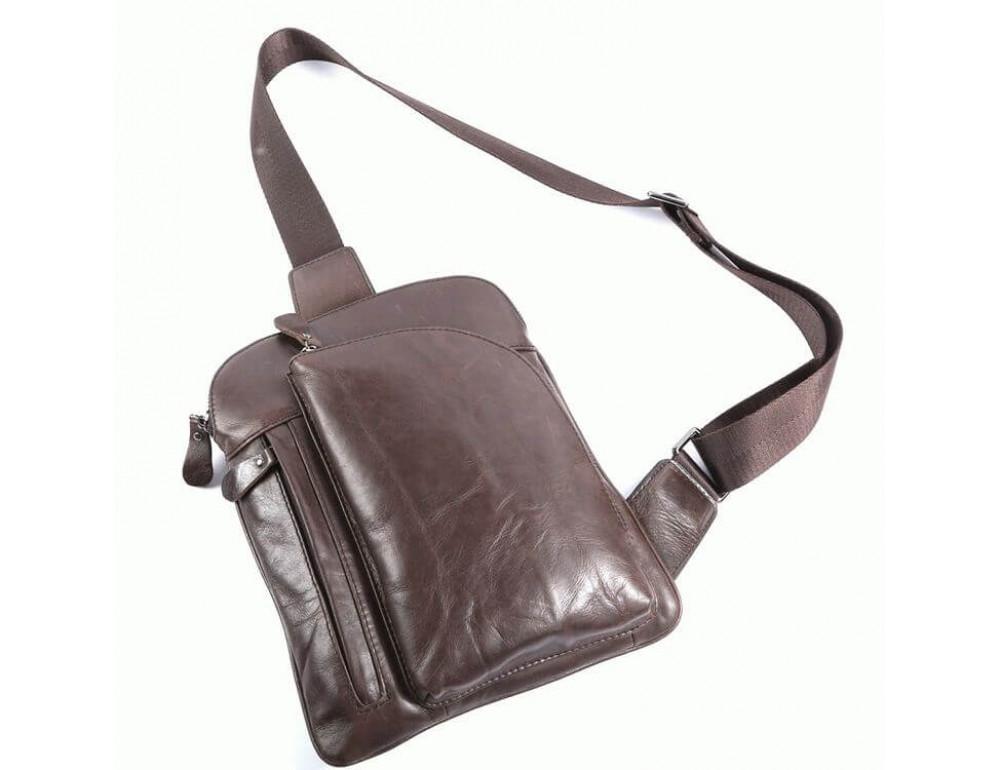 Чоловічий шкіряний рюкзак на одне плече TIDING BAG 7194C - Фотографія № 3