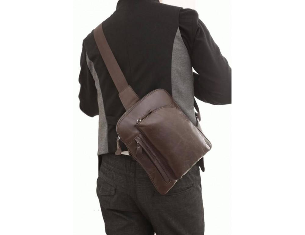 Чоловічий шкіряний рюкзак на одне плече TIDING BAG 7194C - Фотографія № 4
