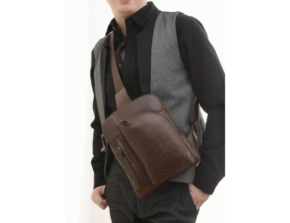 Чоловічий шкіряний рюкзак на одне плече TIDING BAG 7194C - Фотографія № 5