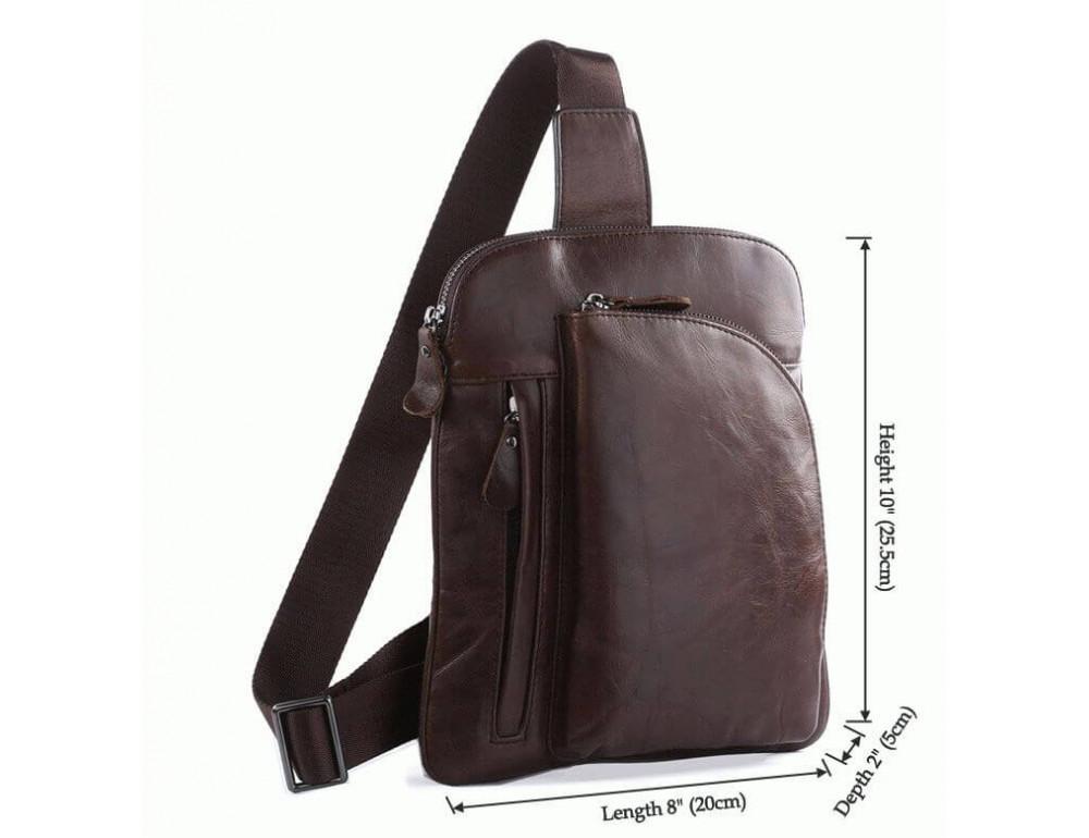 Чоловічий шкіряний рюкзак на одне плече TIDING BAG 7194C - Фотографія № 6