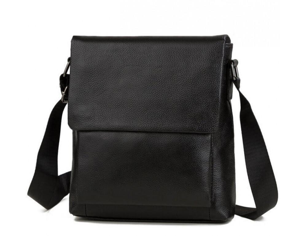 Чёрная мужская кожаная сумка через плечо TIDING BAG A25-1278A