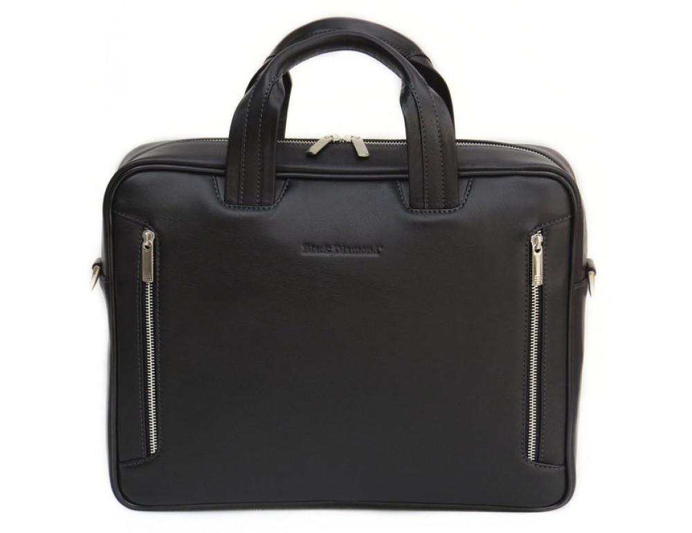 Мужская кожаная сумка Black Diamond BD14A чёрная - Фото № 2