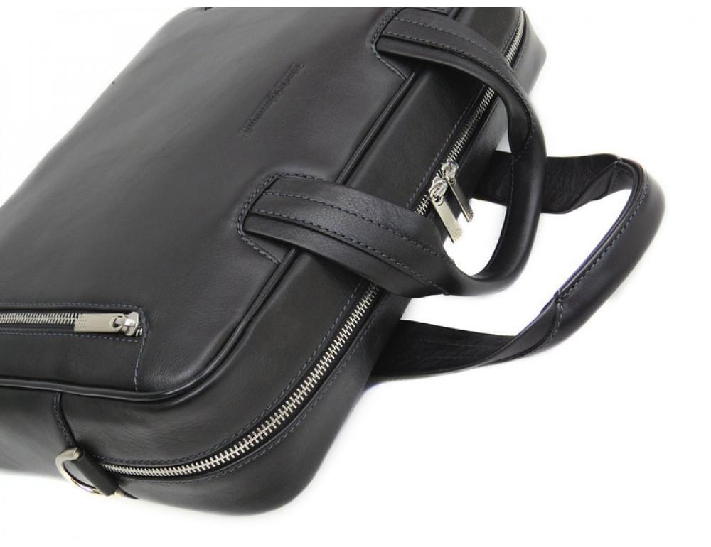 Мужская кожаная сумка Black Diamond BD14A чёрная - Фото № 6