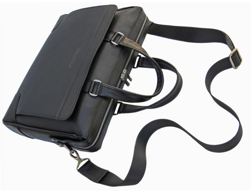 Чоловіча шкіряна сумка Black Diamond BD10A чорна - Фотографія № 6