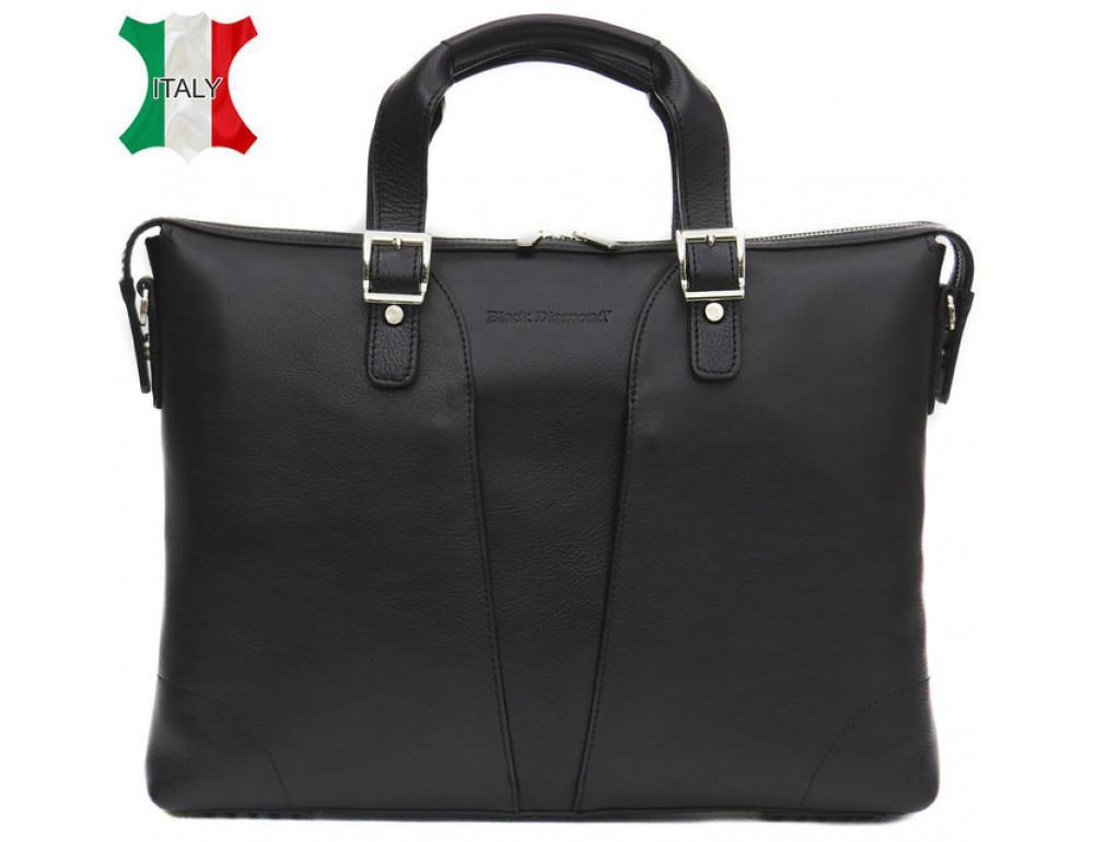 Мужская кожаная сумка Black Diamond BD4A чёрная
