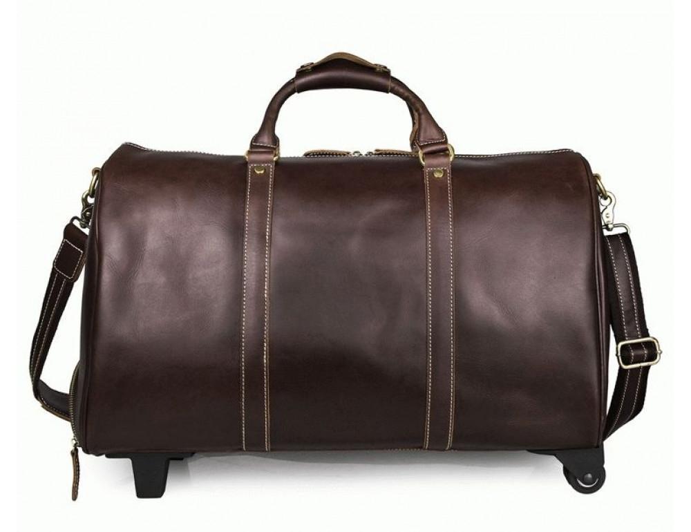 Дорожная кожаная сумка на колёсиках S.J.D. 7077LC - Фотографія № 3