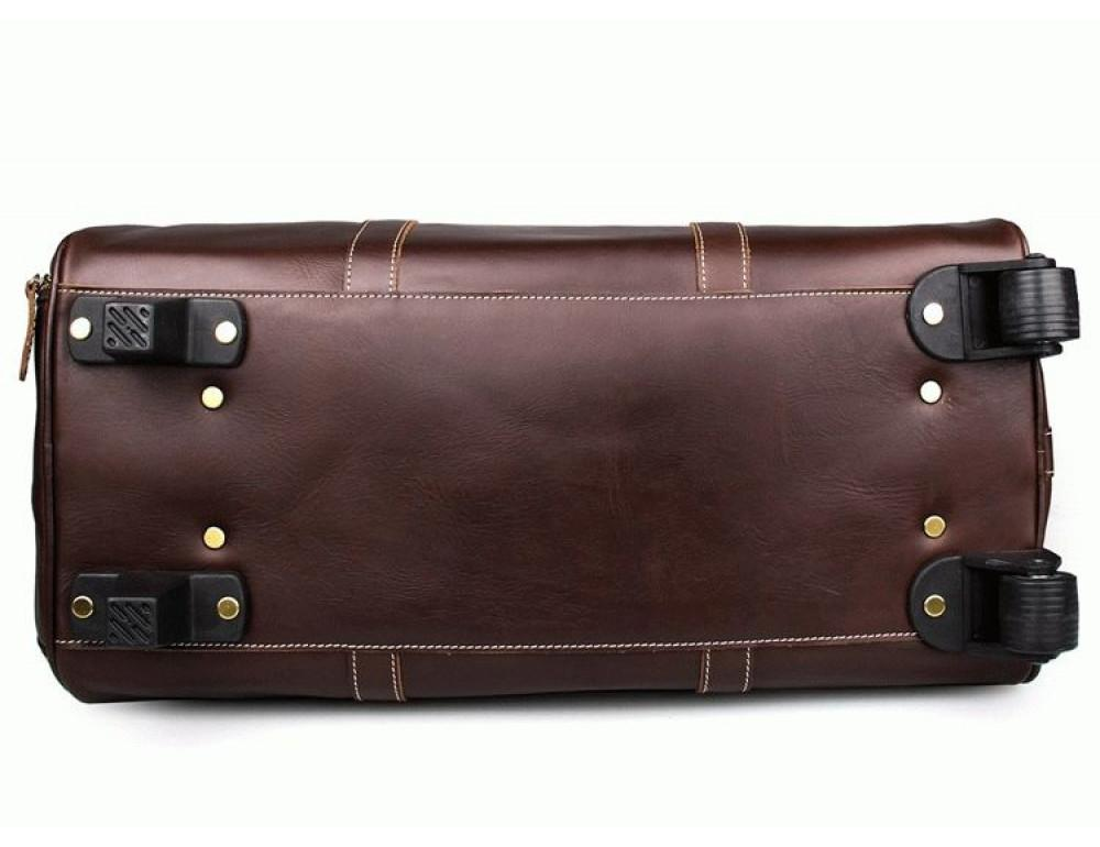 Дорожная кожаная сумка на колёсиках S.J.D. 7077LC - Фотографія № 4