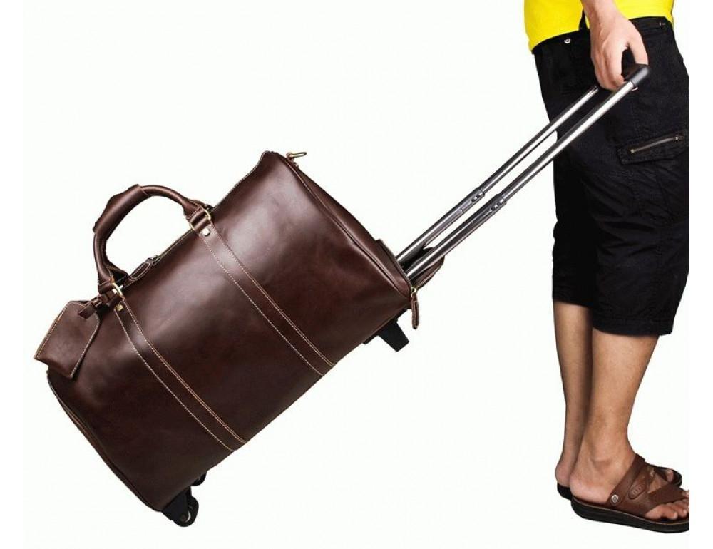 Дорожная кожаная сумка на колёсиках S.J.D. 7077LC - Фотографія № 2