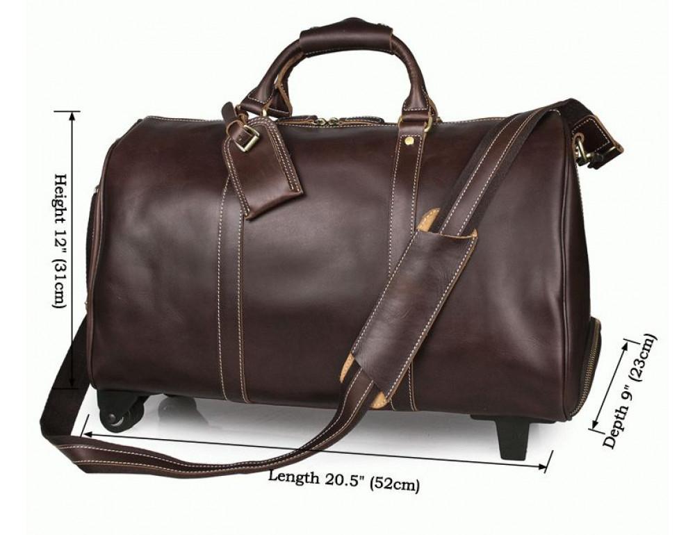 Дорожная кожаная сумка на колёсиках S.J.D. 7077LC - Фотографія № 7
