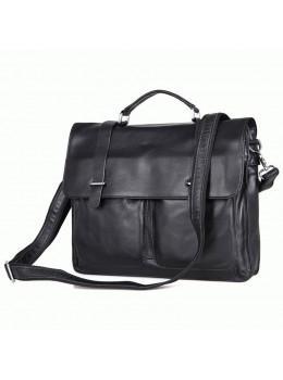 Мужская кожаная сумка TIDING BAG 7100A чёрный