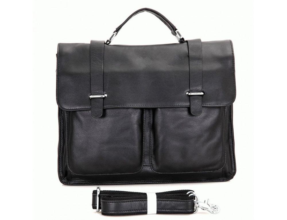 Чоловіча шкіряна сумка TIDING BAG 7100A чорний - Фотографія № 3