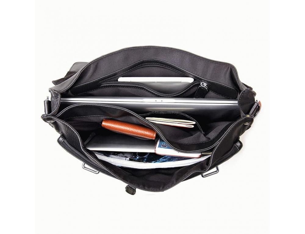 Чоловіча шкіряна сумка TIDING BAG 7100A чорний - Фотографія № 7