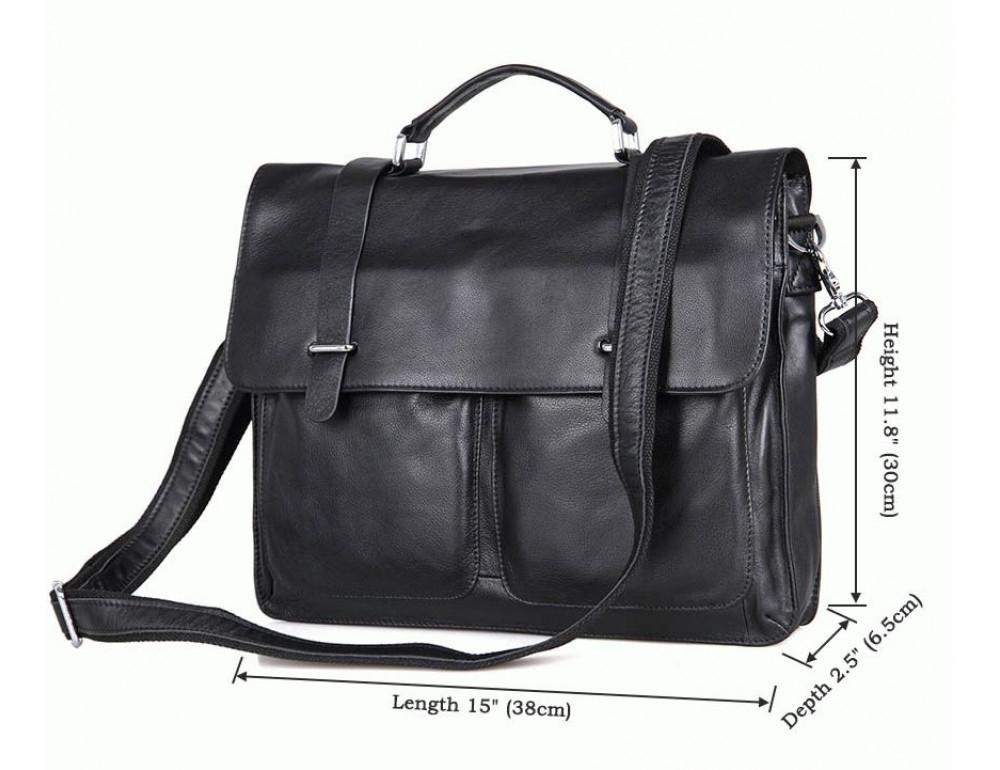Чоловіча шкіряна сумка TIDING BAG 7100A чорний - Фотографія № 8
