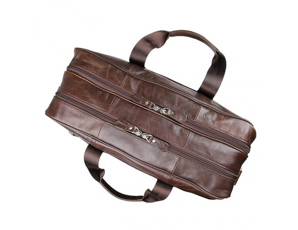 Мужская кожаная сумка JASPER&MAINE 7320C коричневая - Фото № 3