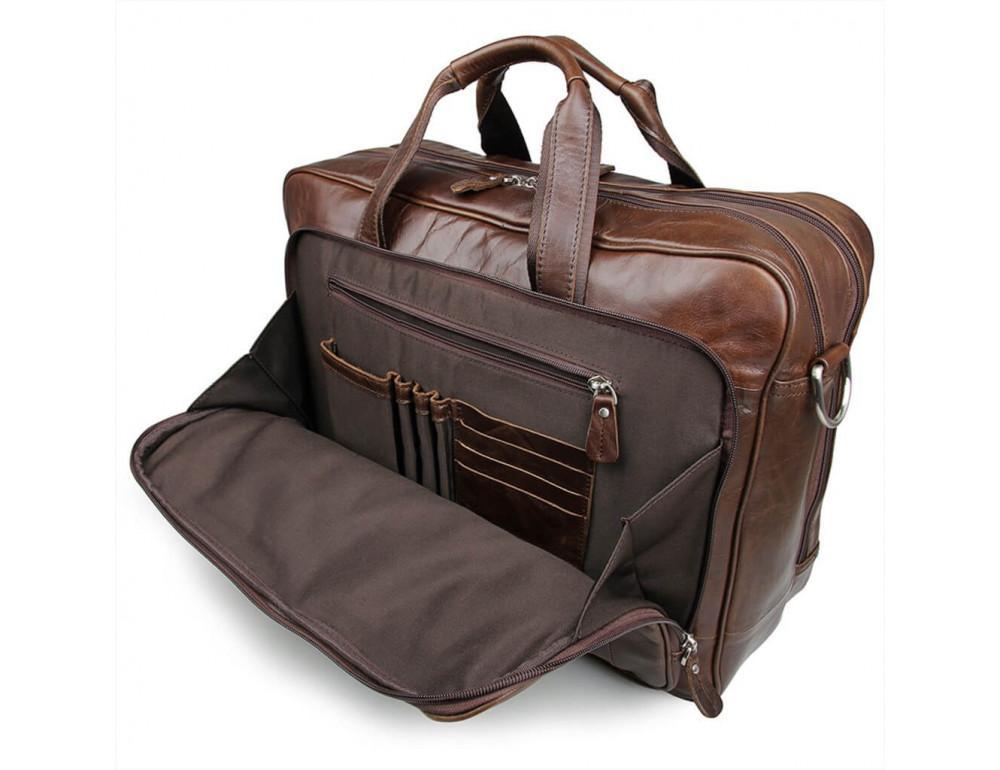 Мужская кожаная сумка JASPER&MAINE 7320C коричневая - Фото № 4