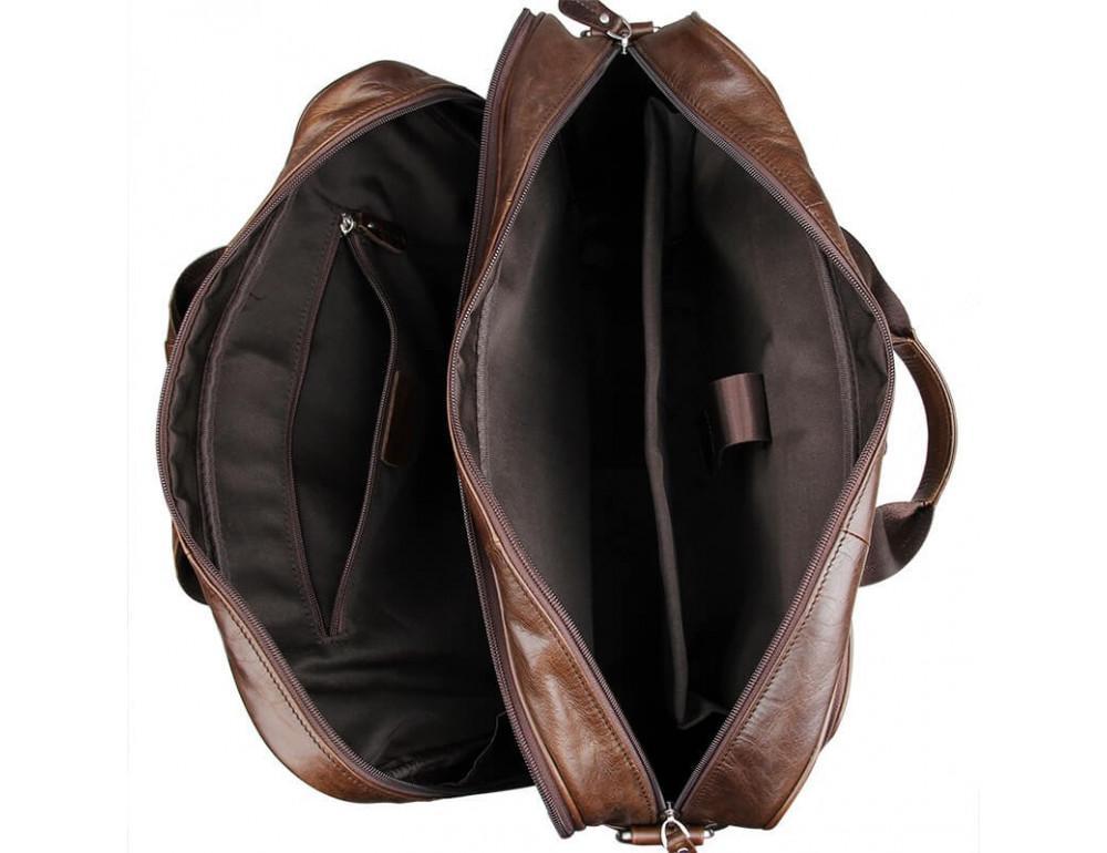 Мужская кожаная сумка JASPER&MAINE 7320C коричневая - Фото № 5