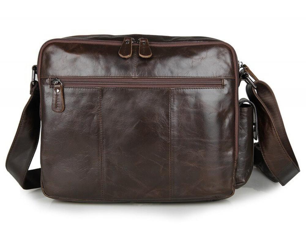 Кожаная сумка через плечо TIDING BAG 7332C темно-коричневая - Фото № 2