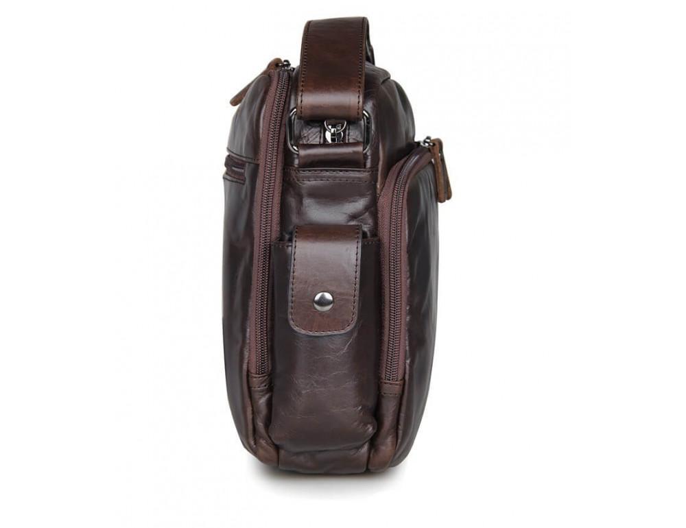 Кожаная сумка через плечо TIDING BAG 7332C темно-коричневая - Фото № 3