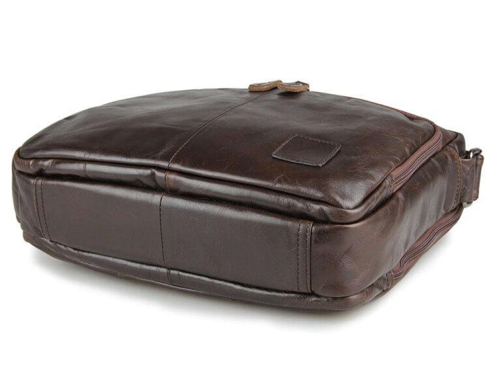 Кожаная сумка через плечо TIDING BAG 7332C темно-коричневая - Фото № 4