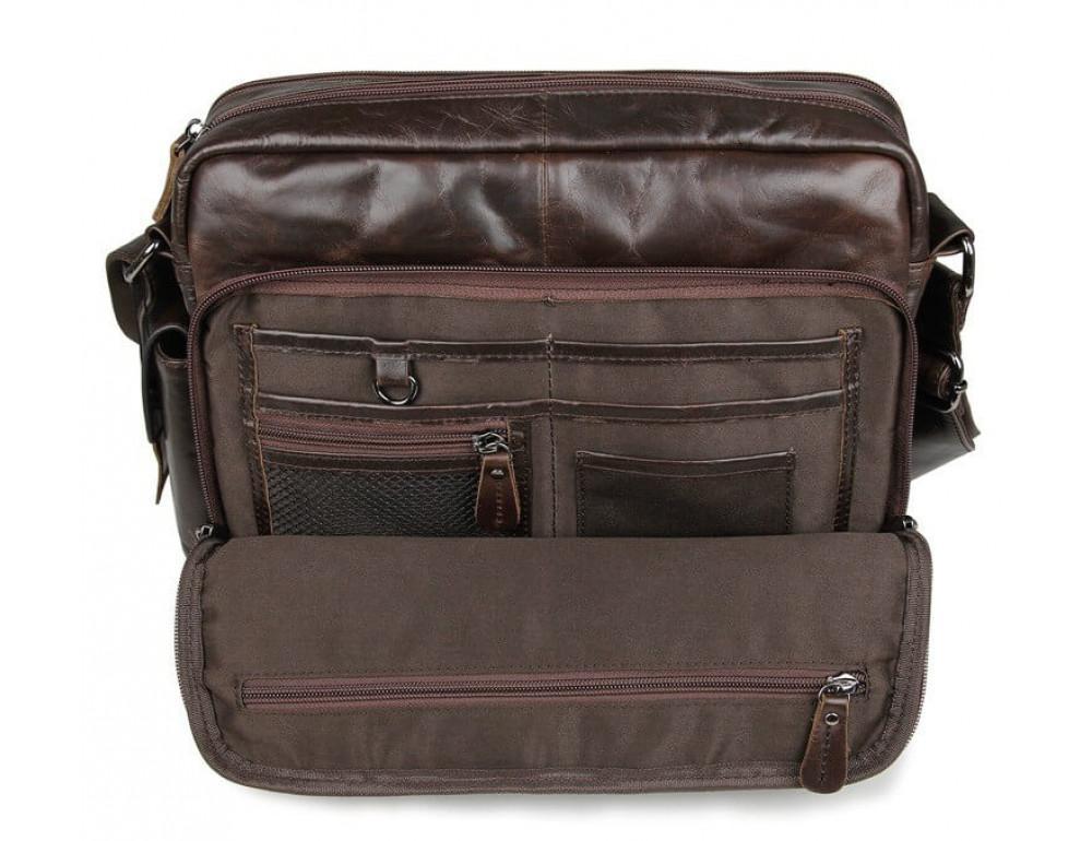 Кожаная сумка через плечо TIDING BAG 7332C темно-коричневая - Фото № 5