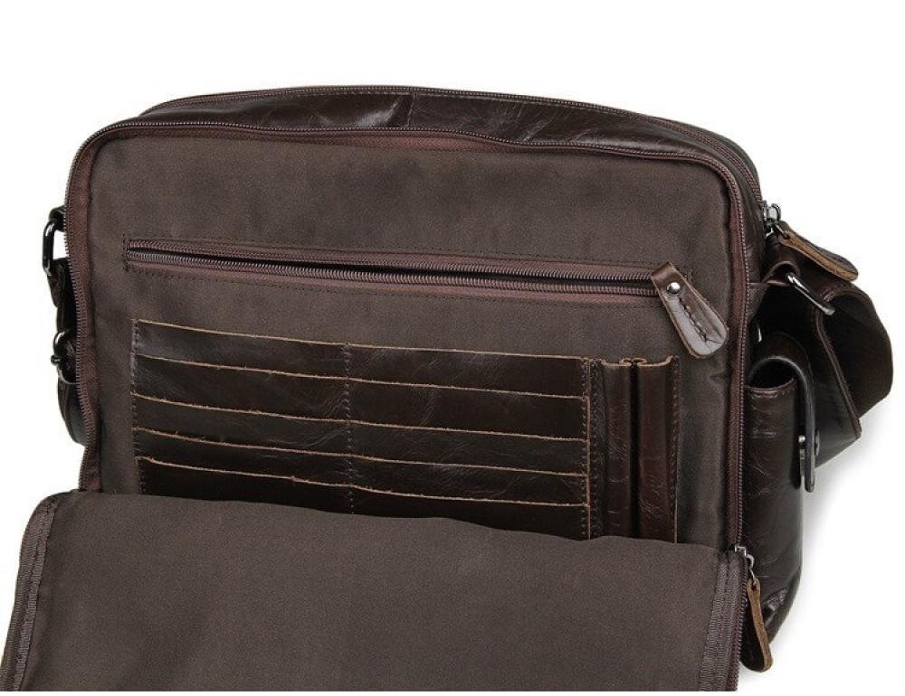 Кожаная сумка через плечо TIDING BAG 7332C темно-коричневая - Фото № 6