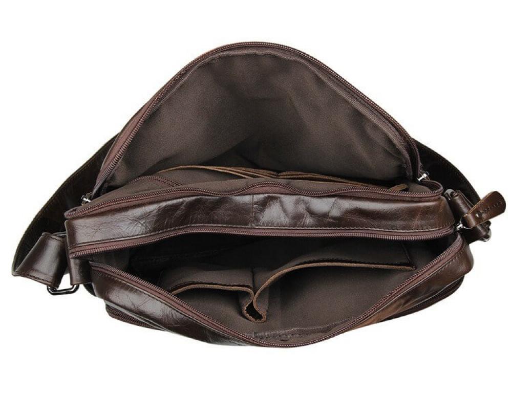 Кожаная сумка через плечо TIDING BAG 7332C темно-коричневая - Фото № 7