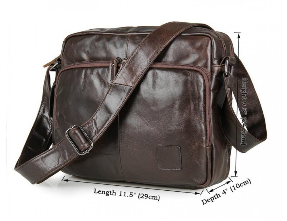 Кожаная сумка через плечо TIDING BAG 7332C темно-коричневая - Фото № 8