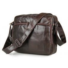 Шкіряна сумка через плече TIDING BAG 7332C темно-коричнева