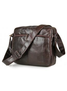 Кожаная сумка через плечо TIDING BAG 7332C темно-коричневая